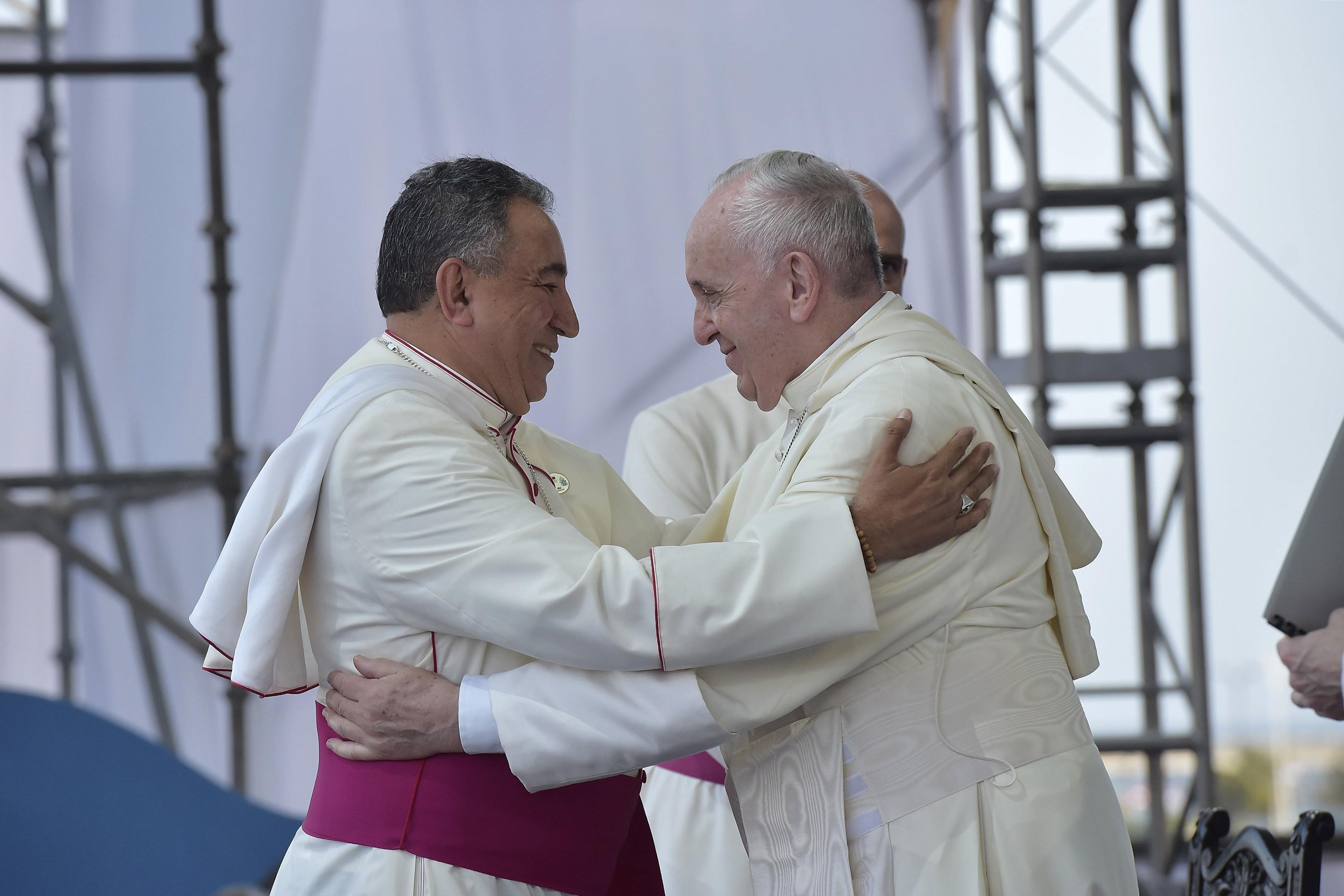 El Arzobispo Ulloa agradece al Papa su visita al país © Vatican Media