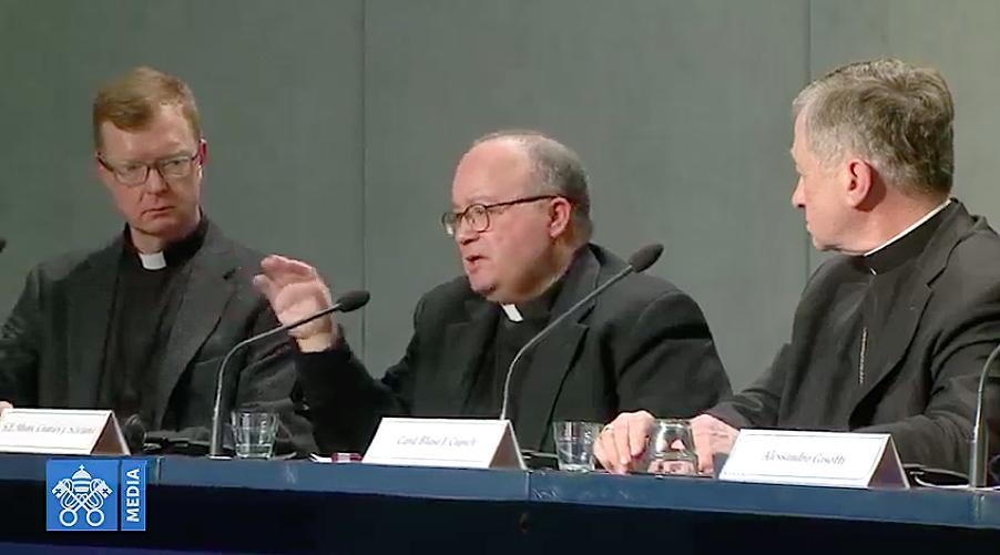 Mons. Scicluna, en la rueda de prensa del 18 de febrero de 2019. Captura de pantalla