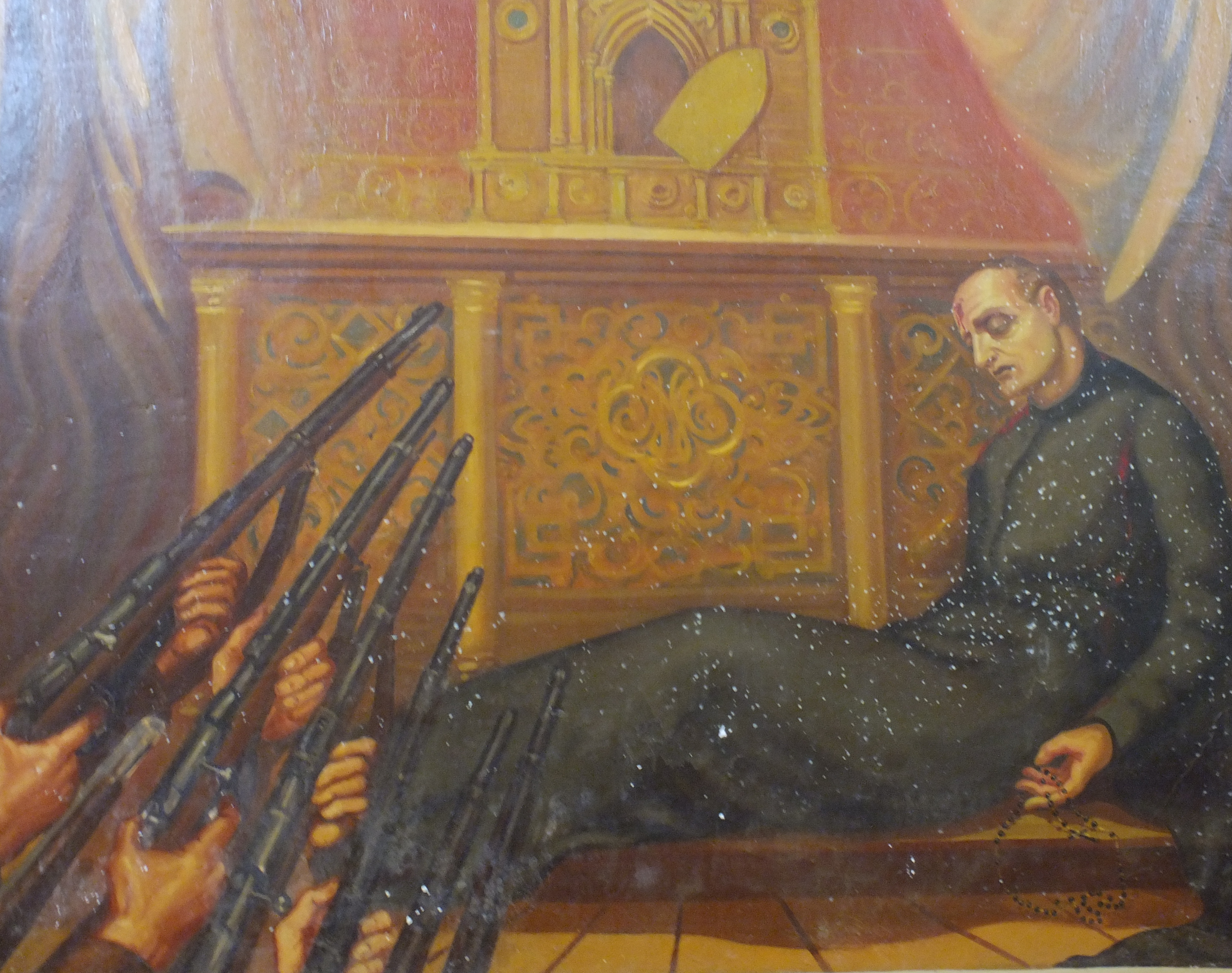 Asesinato del P. Emilio Moscoso. Fresco en el Templo S. Felipe en Riobamba, Ecuador