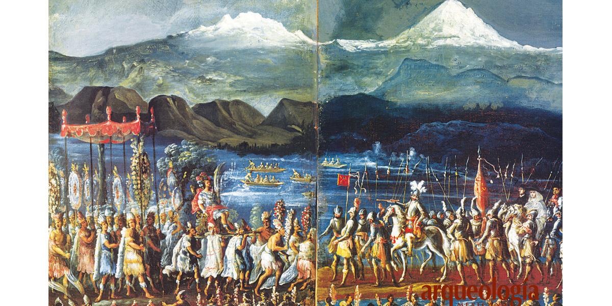 Encuentro entre Hernán Cortés y el tlatoani Moctezuma II © Arqueología mexicana