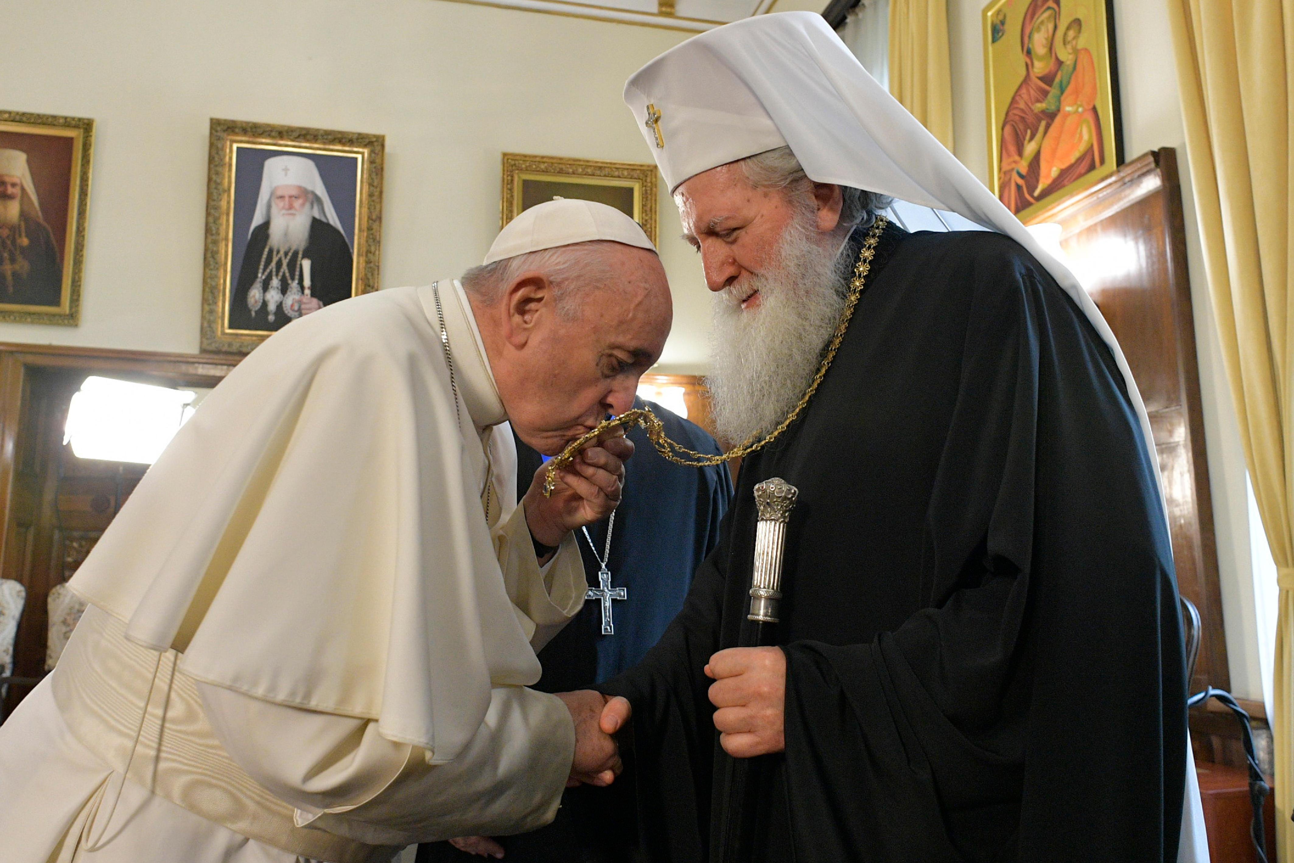 El Papa Francisco y el Patriarca Neófito, jefe de la Iglesia Ortodoxa Búlgara © Vatican Media