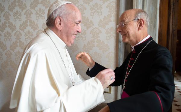 Francisco saluda al Prelado del Opus Dei, 30 enero 2020 © Opus Dei